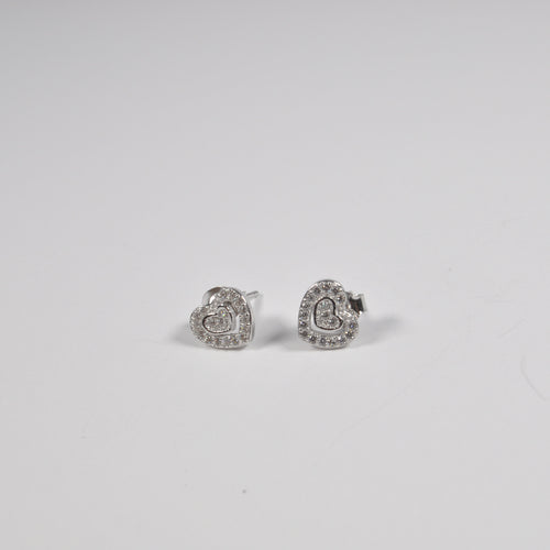 Double Heart Zirconia Stud Earrings - by Galia
