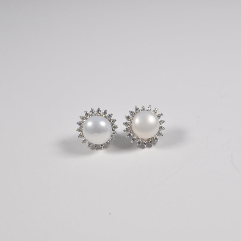 Round Pearl & Zirconia Earrings - by Galia