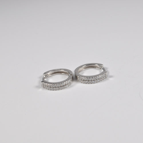 Double Zirconia Band Earrings - by Galia