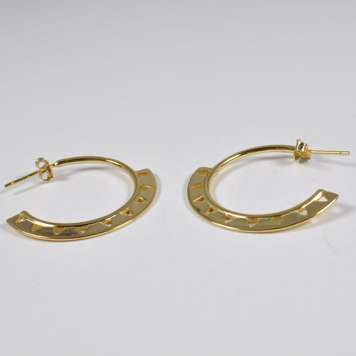 Ethnic Geometric Gold Band Earring - by Galia