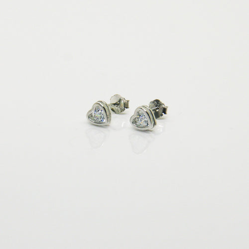 Girl Silver Heart Earrings - by Galia
