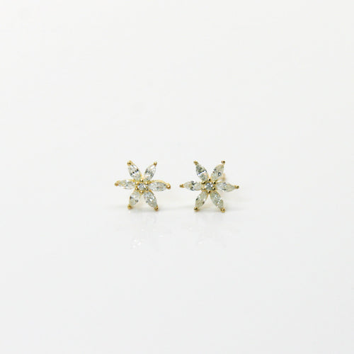 Girl Gold Flower Earrings - by Galia