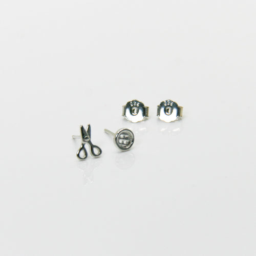 Girl Silver Scissors & Button Earrings - by Galia