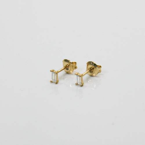 Girl Gold Bar Zirconia Earrings - by Galia