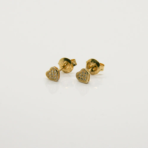 Girl Gold Heart Earrings - by Galia