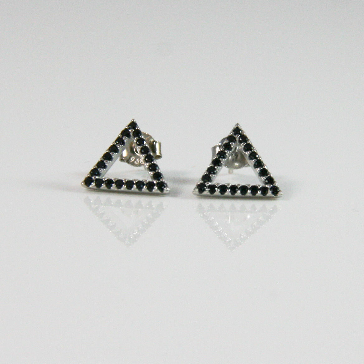 products collection jewelers yellow stud gold af pyramid triangle earrings
