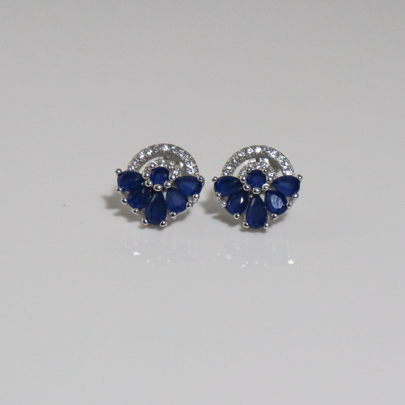 Abanico Navy Stud Earrings - by Galia