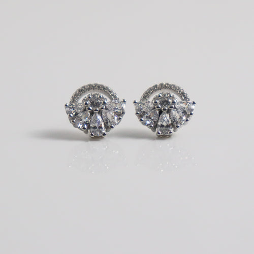Abanico Clear Zirconia Stud Earrings. - by Galia