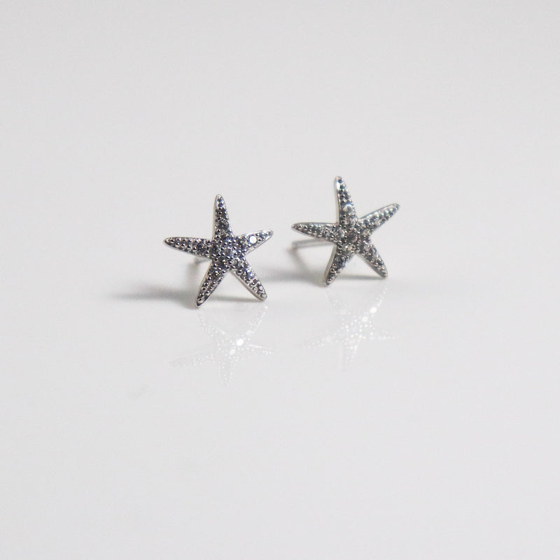 Starfish Zirconia Stud Earrrings - by Galia