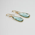 Gold Aqua Pendant Earrings - by Galia