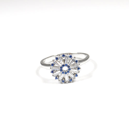Blue Clear Flower Zirconia Ring - by Galia