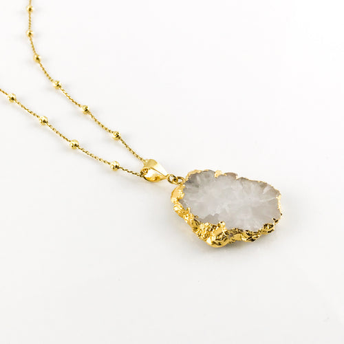 Snow Agatha Pendant & Long Gold Chain - by Galia