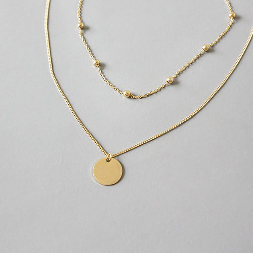 Gold Double Chain Plate Necklace - by Galia