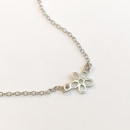 Girl Silver Petite Flower Pendant - by Galia