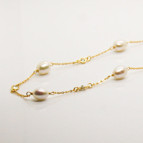 Pearl & Zirconia Long Gold Chain - by Galia
