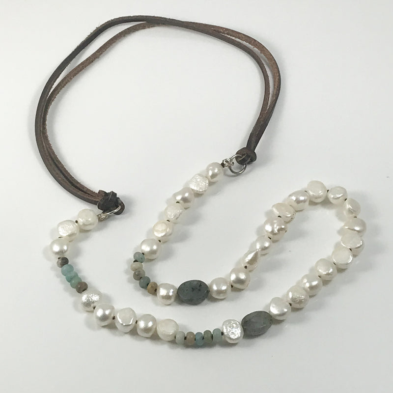 Tobacco Leather & Pearls Necklace - by Galia