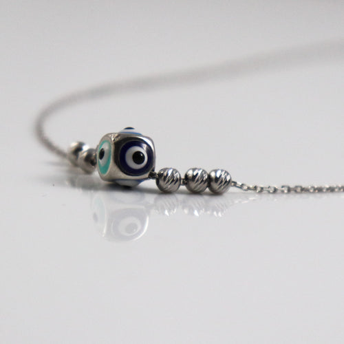 Evil Dice Silver Necklace - by Galia
