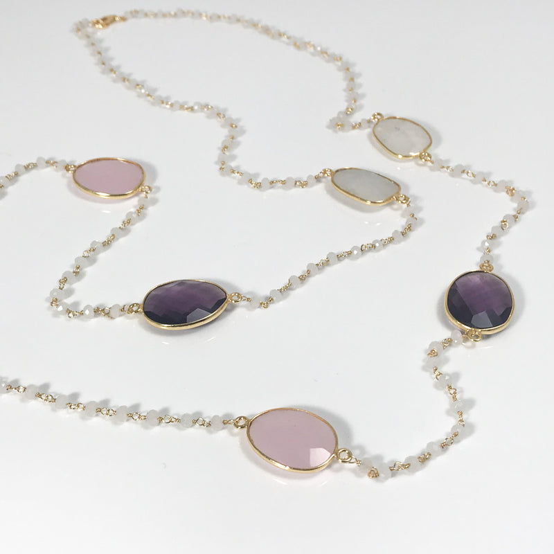 Rose & Purple Necklace - by Galia
