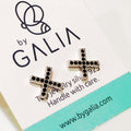 Black Exes Stud Earrings - by Galia