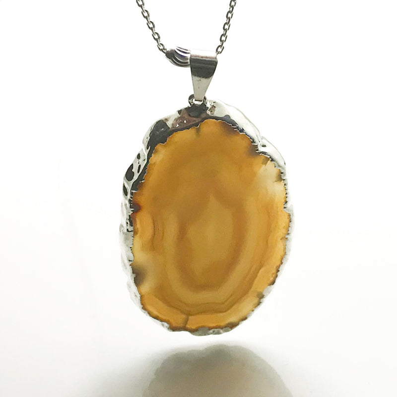 Amber Agatha Pendant & Long Silver Beads Chain - by Galia
