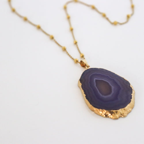 Violet Pendant & Long Gold Silver Beads Chain - by Galia