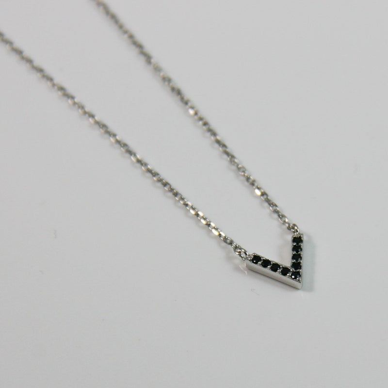 """V"" Black Zirconia Pendant - by Galia"