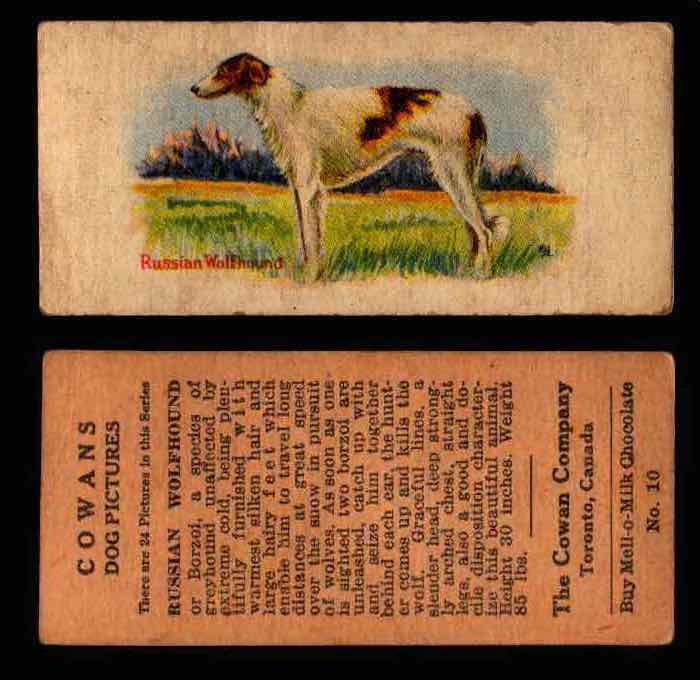 1929 V13 Cowans Dog Pictures Vintage Trading Cards You Pick Singles #1-24 #10 Russian Wolfhound  - TvMovieCards.com