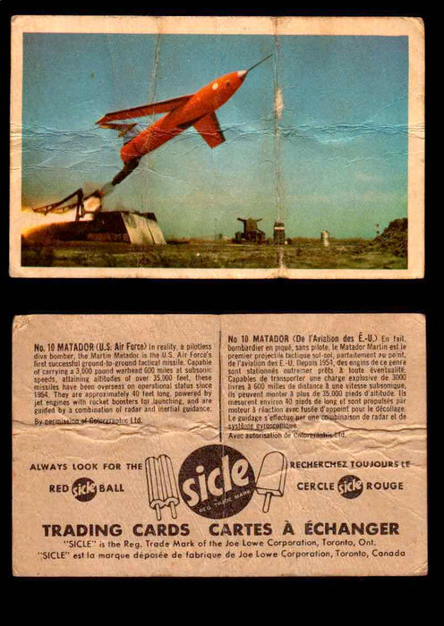 1959 Sicle Aircraft & Missile Canadian Vintage Trading Card U Pick Singles #1-25 #10 Matador  - TvMovieCards.com
