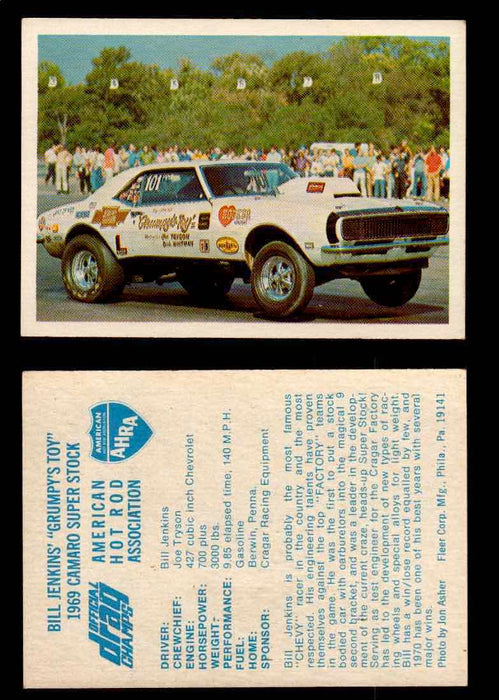 "AHRA Official Drag Champs 1971 Fleer Vintage Trading Cards You Pick Singles 10   Bill Jenkins' ""Grumpy's Toy""                     1969 Camaro Super Stock  - TvMovieCards.com"