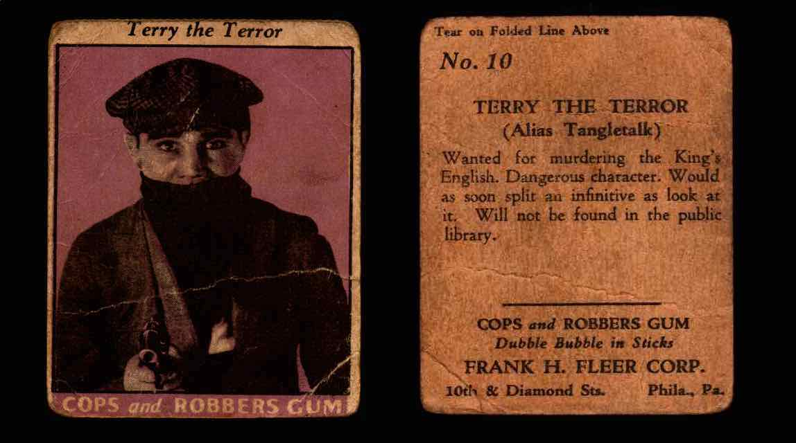 1935 Fleer Cops and Robbers Gum Vintage Trading Card #1-35 Singles #10 Terry The Terror  - TvMovieCards.com