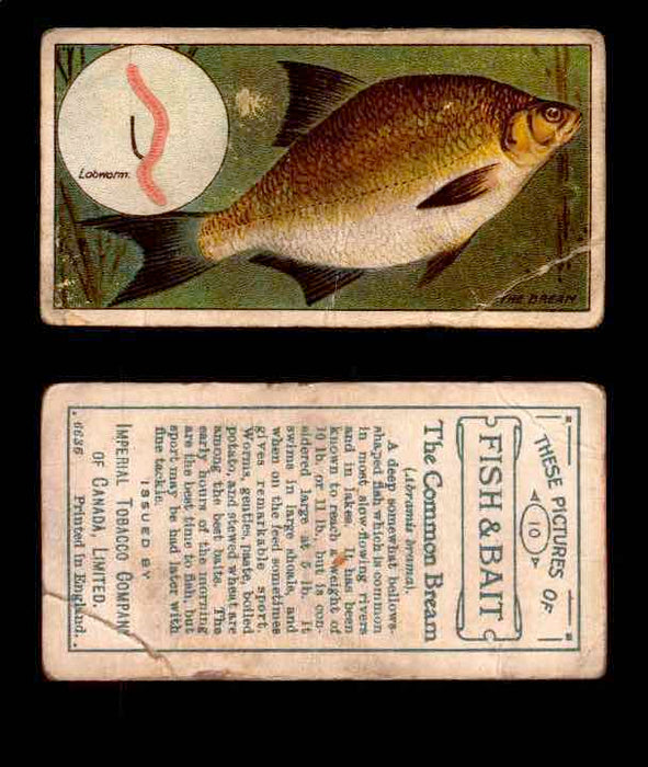 1910 Fish and Bait Imperial Tobacco Vintage Trading Cards You Pick Singles #1-50 #10 The Common Bream  - TvMovieCards.com