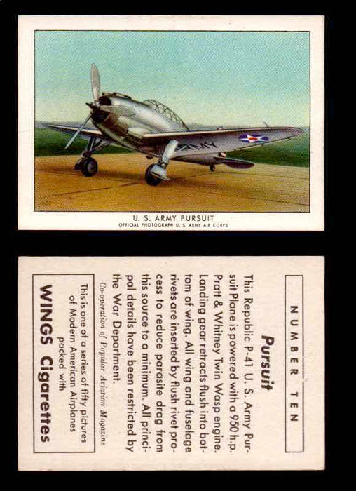 1940 Modern American Airplanes Series 1 Vintage Trading Cards Pick Singles #1-50 10 U.S. Army Pursuit (Republic P-41)  - TvMovieCards.com
