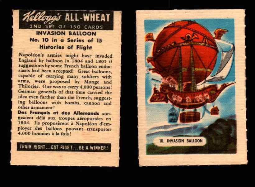 1946 Kelloggs All-Wheat Series 2 Histories of Flight Vintage Card #1-15 Singles #10 Invasion Balloon  - TvMovieCards.com