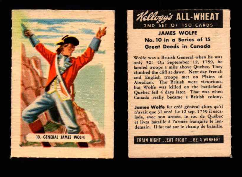 1946 Kelloggs All-Wheat Series 2 Great Deeds in Canada Vintage Card #1-15 Singles #10 James Wolfe  - TvMovieCards.com