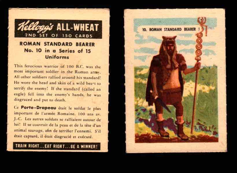 1946 Kelloggs All-Wheat Series 2 Uniforms Vintage Trading Cards #1-15 Singles #10 Roman Standard Bearer  - TvMovieCards.com