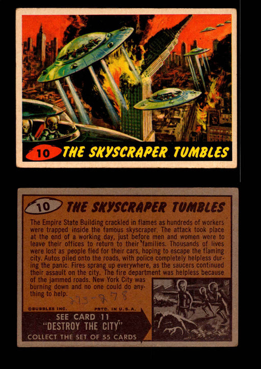 1962 Original Mars Attack You Pick Single Trading Card #1-55 Topps #10   The Skyscraper Tumbles / Writing on Back  - TvMovieCards.com