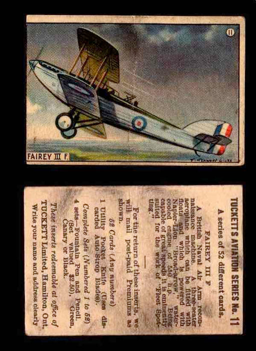 1929 Tucketts Aviation Series 1 Vintage Trading Cards You Pick Singles #1-52 #11 Fairey III F  - TvMovieCards.com