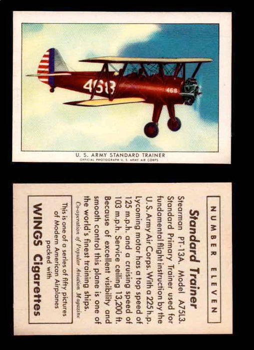 1940 Modern American Airplanes Series 1 Vintage Trading Cards Pick Singles #1-50 11 U.S. Army Standard Trainer (Stearman PT-13A)  - TvMovieCards.com