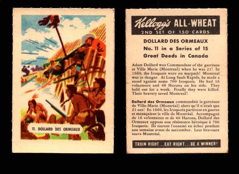 1946 Kelloggs All-Wheat Series 2 Great Deeds in Canada Vintage Card #1-15 Singles #11 Dollard Des Ormeaux  - TvMovieCards.com