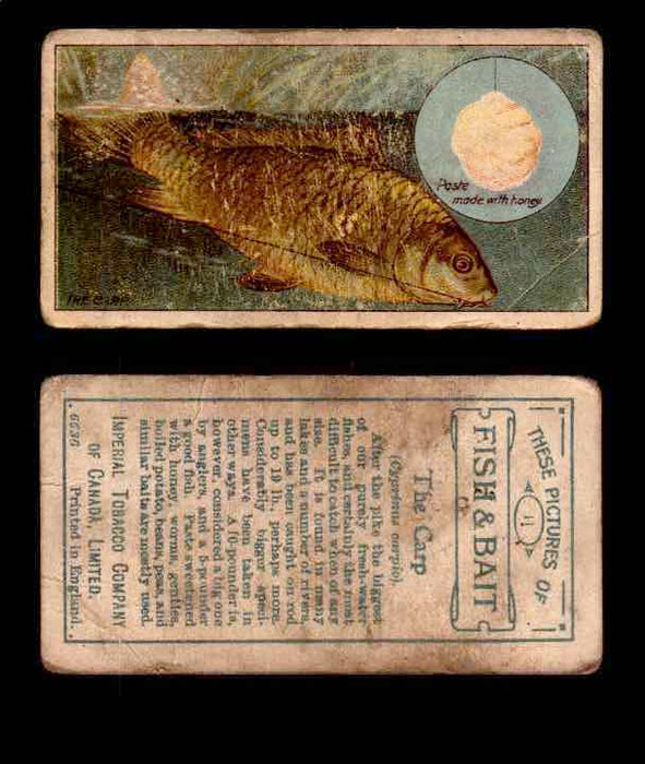 1910 Fish and Bait Imperial Tobacco Vintage Trading Cards You Pick Singles #1-50 #11 The Carp  - TvMovieCards.com