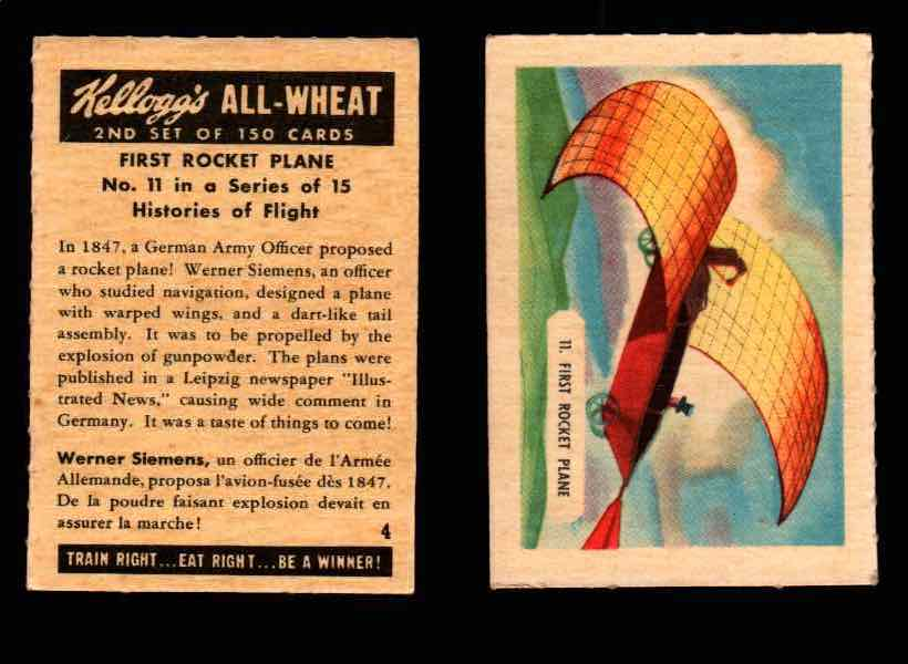 1946 Kelloggs All-Wheat Series 2 Histories of Flight Vintage Card #1-15 Singles #11 First Rocket Plane  - TvMovieCards.com