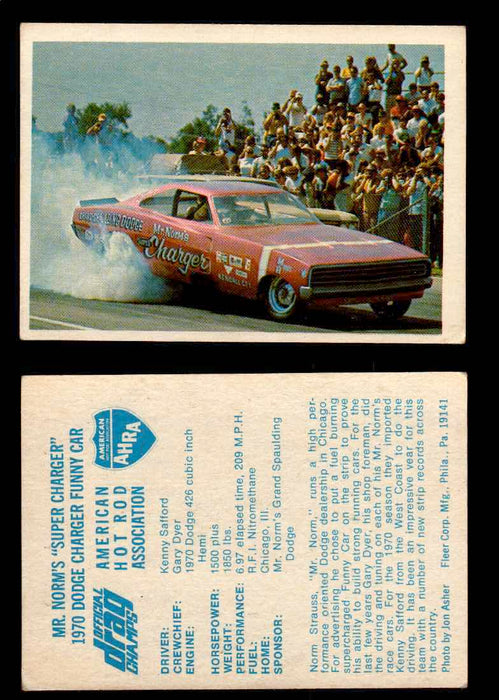"AHRA Official Drag Champs 1971 Fleer Vintage Trading Cards You Pick Singles 11   Mr. Norm's ""Super Charger""                       1970 Dodge Charger Funny Car  - TvMovieCards.com"