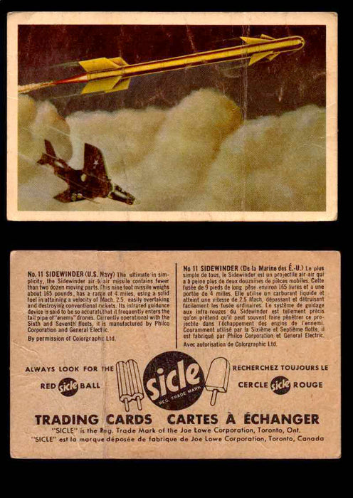1959 Sicle Aircraft & Missile Canadian Vintage Trading Card U Pick Singles #1-25 #11 Sidewinder  - TvMovieCards.com