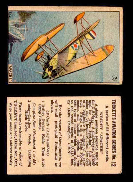 1929 Tucketts Aviation Series 1 Vintage Trading Cards You Pick Singles #1-52 #12 Wright Apache  - TvMovieCards.com