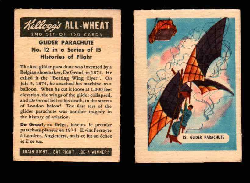 1946 Kelloggs All-Wheat Series 2 Histories of Flight Vintage Card #1-15 Singles #12 Glider Parachute  - TvMovieCards.com