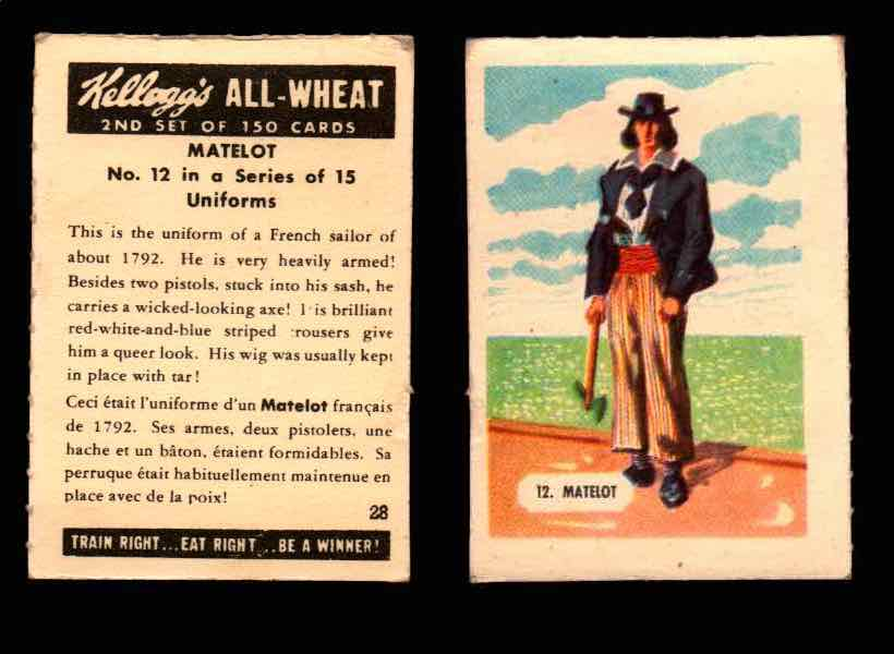 1946 Kelloggs All-Wheat Series 2 Uniforms Vintage Trading Cards #1-15 Singles #12 Matelot  - TvMovieCards.com