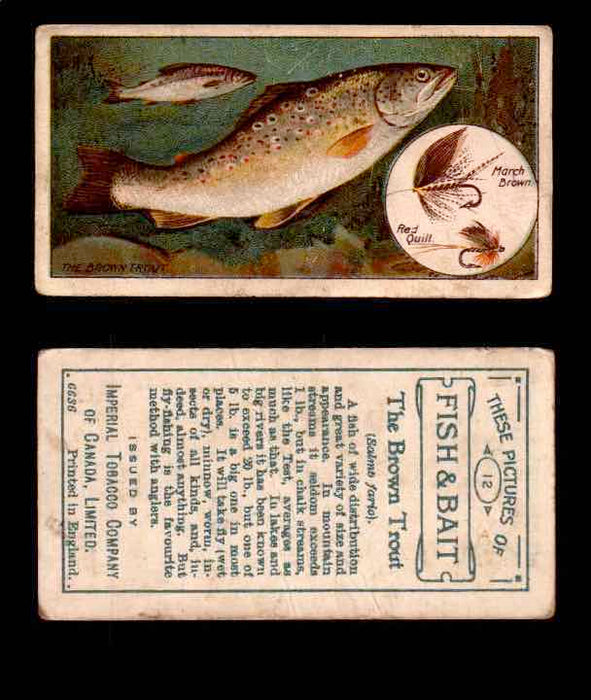 1910 Fish and Bait Imperial Tobacco Vintage Trading Cards You Pick Singles #1-50 #12 The Brown Trout  - TvMovieCards.com