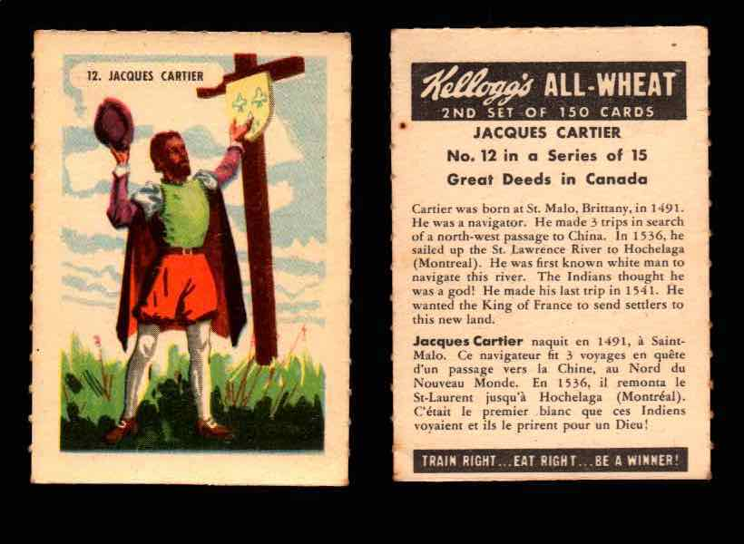 1946 Kelloggs All-Wheat Series 2 Great Deeds in Canada Vintage Card #1-15 Singles #12 Jacques Cartier  - TvMovieCards.com