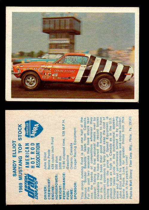 AHRA Official Drag Champs 1971 Fleer Vintage Trading Cards You Pick Singles 12   Sandy Elliott                                    1969 Mustang Top Stock  - TvMovieCards.com