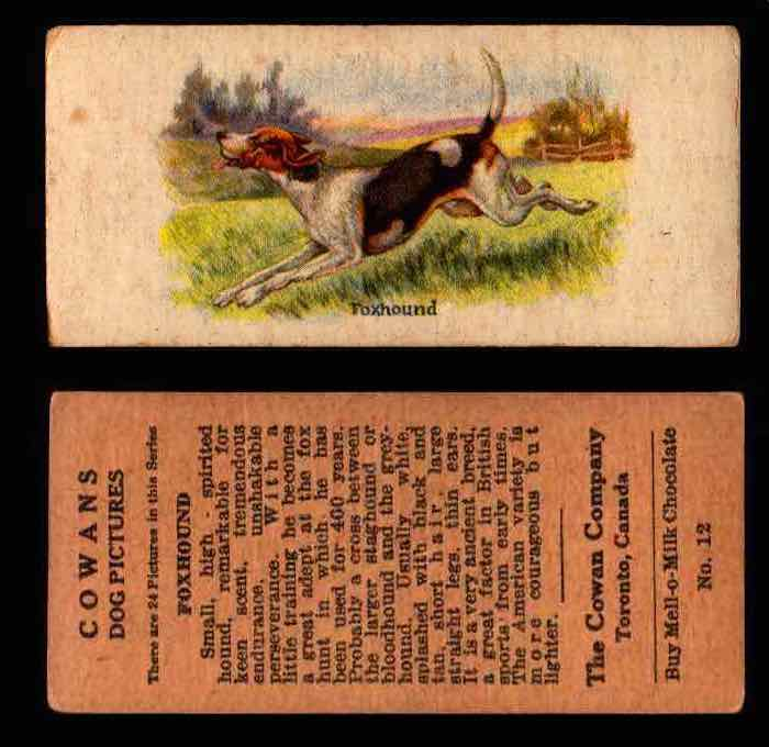 1929 V13 Cowans Dog Pictures Vintage Trading Cards You Pick Singles #1-24 #12 Foxhound  - TvMovieCards.com